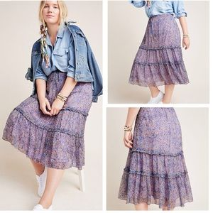 NWT Anthropologie Seurat Tiered Midi Skirt